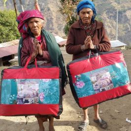 Distribution of blankets in the winter following the earthquake